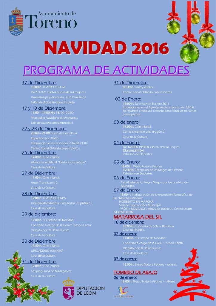 Navidad 2016 en Toreno, programa de actividades 2