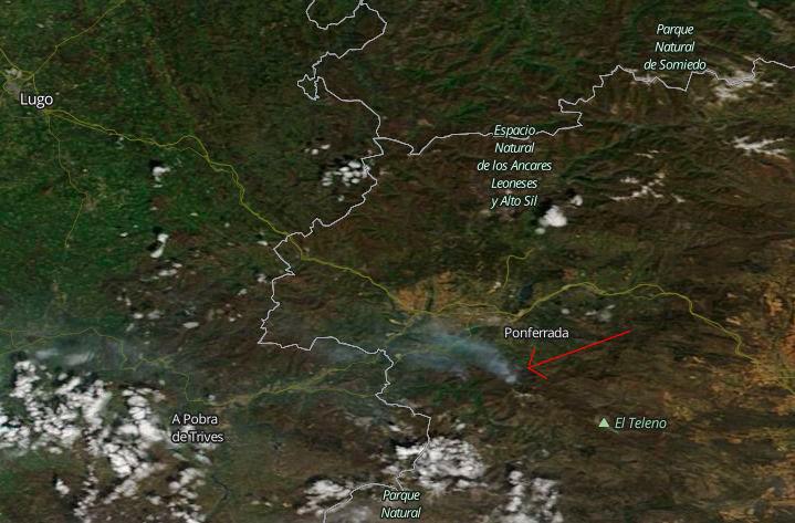 El incendio de Valdueza visto desde el espacio 4
