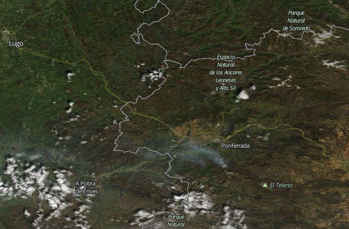 El incendio de Valdueza visto desde el espacio 3