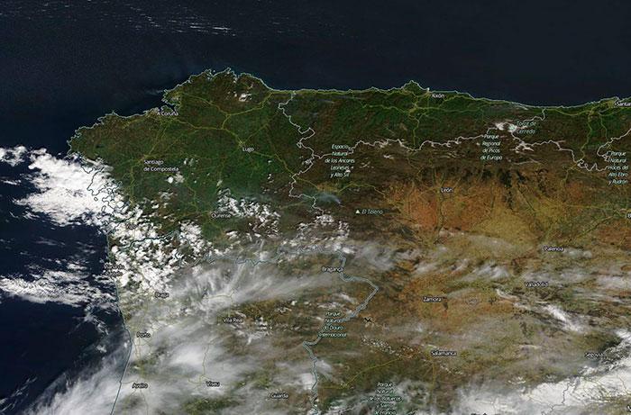 El incendio de Valdueza visto desde el espacio 2