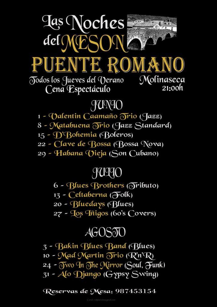El Mesón Puente Romano programa cena-concierto todos los jueves de verano 2