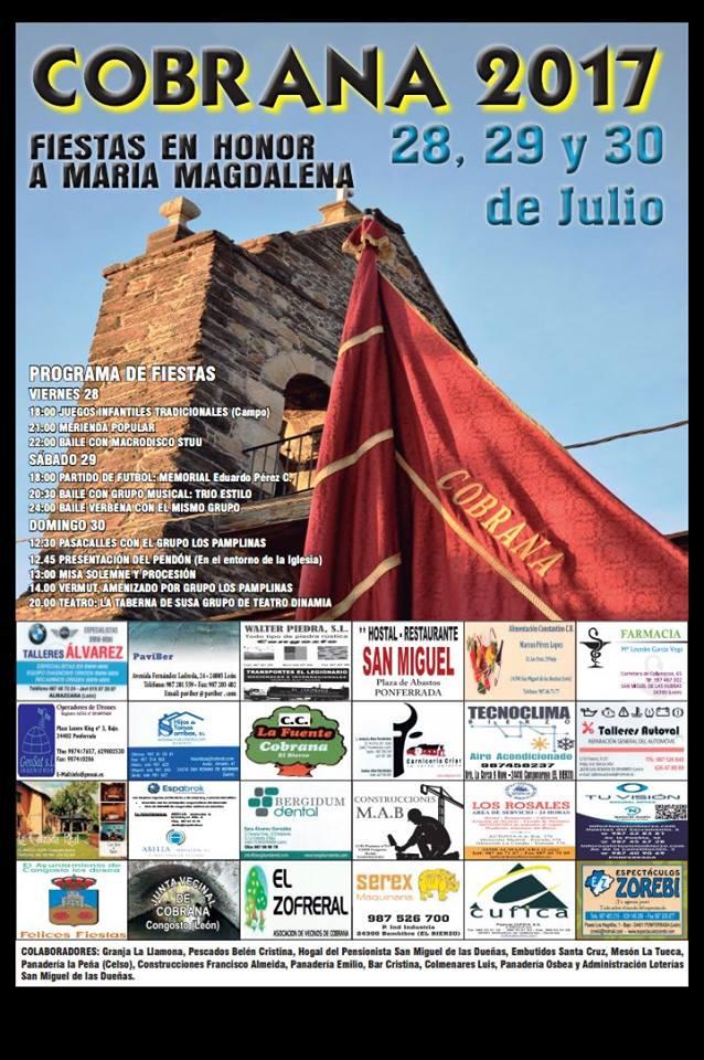 Grandes fiestas en Cobrana. 28, 29 y 30 de julio 2