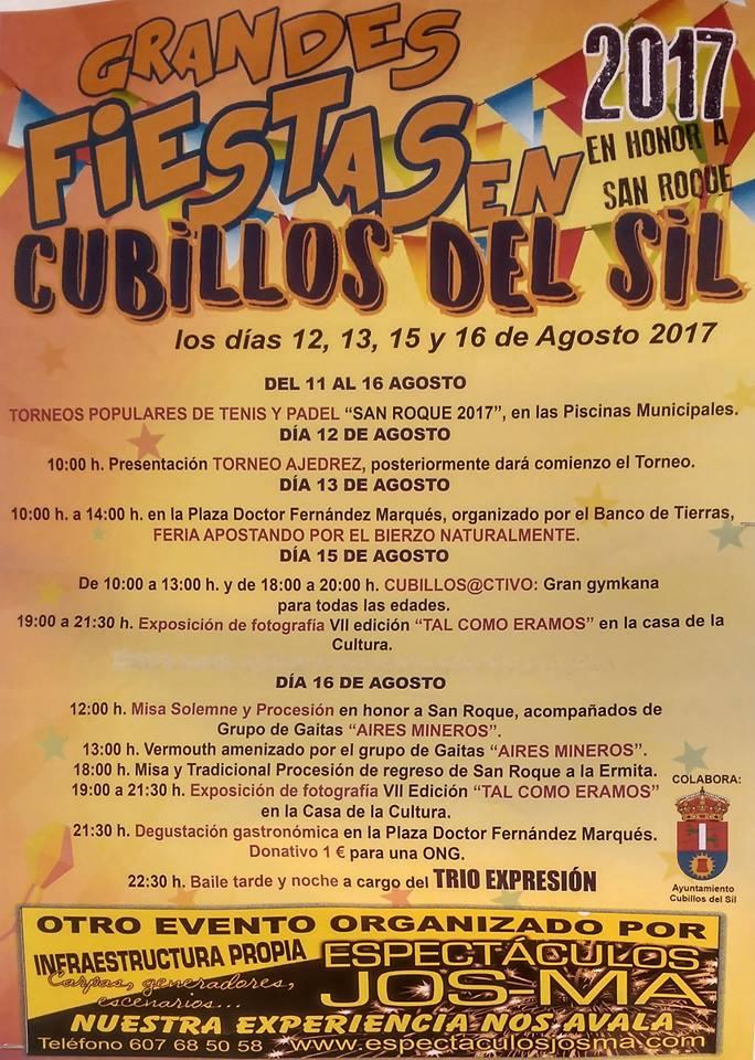 San Roque 2017 en Cubillos del Sil. 12, 13, 15 y 16 de agosto 2