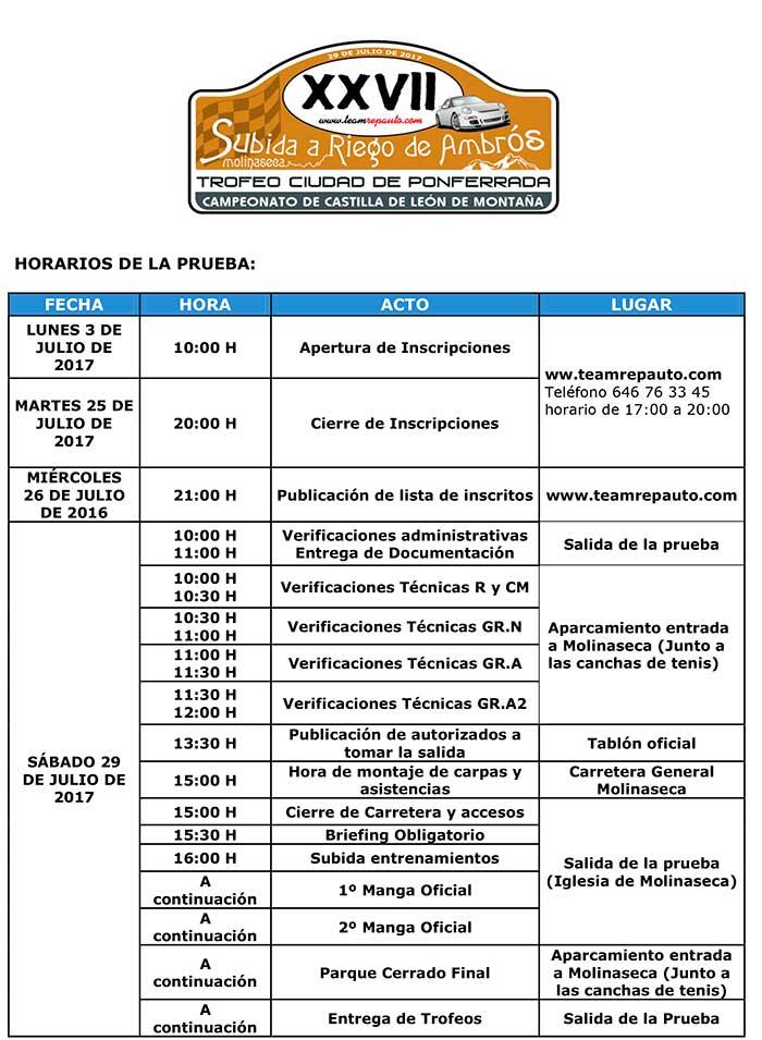 XXVII Subida a Riego de Ambrós 2017. Horarios 3