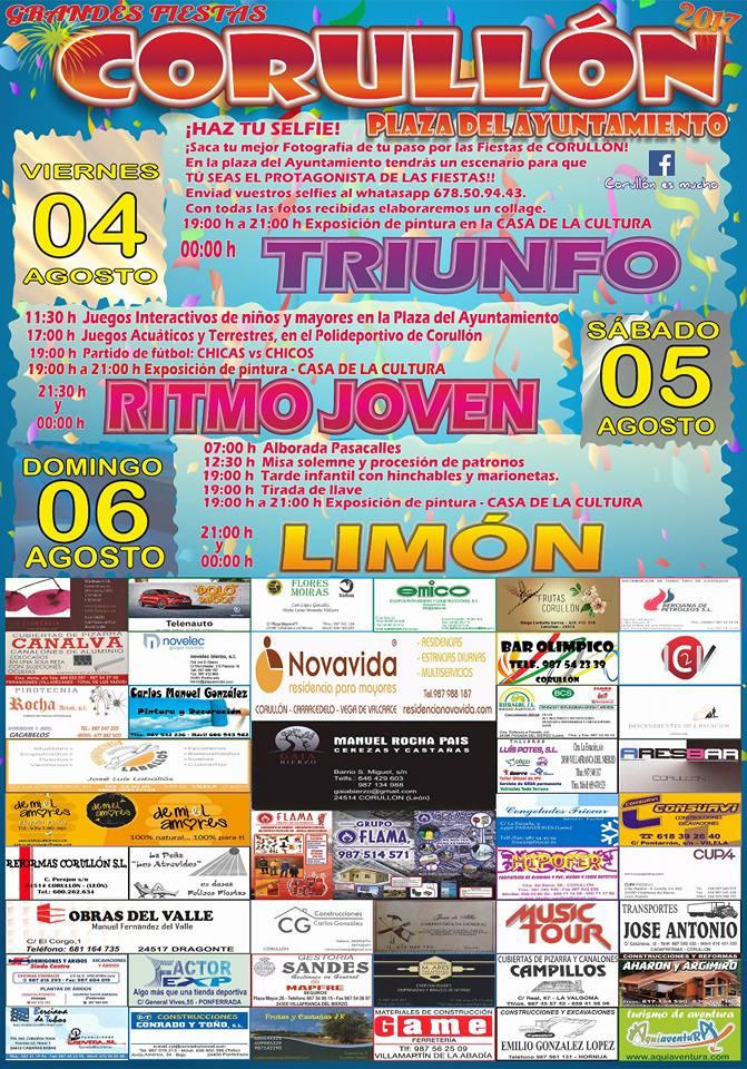 Grandes fiestas en Corullón los días 4, 5 y 6 de agosto 2
