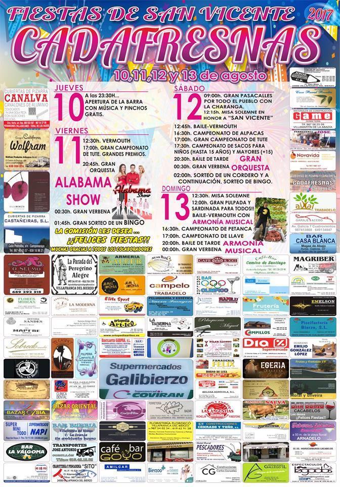 Fiestas de San Vicente en Cadafresnas. 10, 11, 12 y 13 de agosto