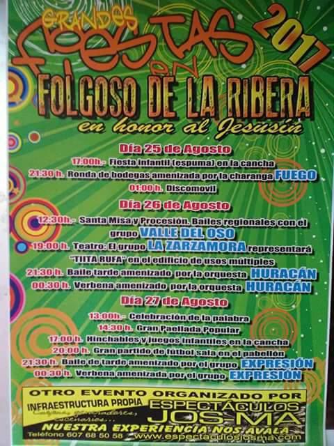 Fiestas en Folgoso de la Ribera. 25 al 27 de agosto 2017 2