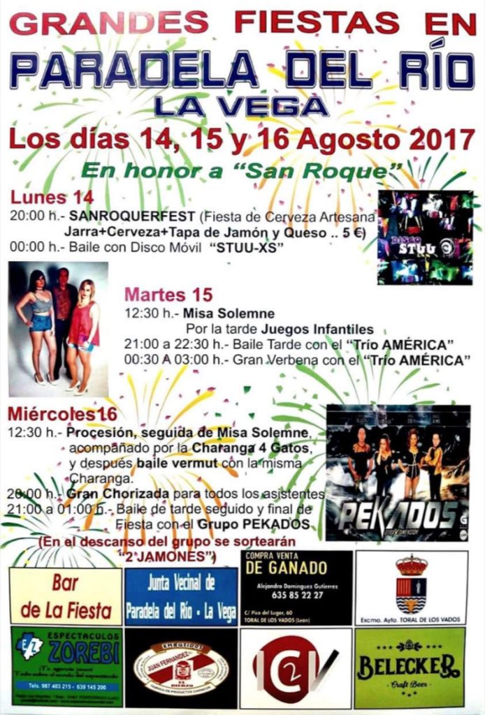 Fiestas en Paradela del río en honor a San Roque. 14, 15 y 16 de agosto