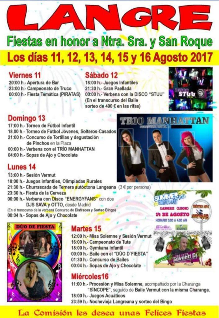 Fiestas en Langre. 11, 12, 13, 14, 15 y 16 de agosto 2017