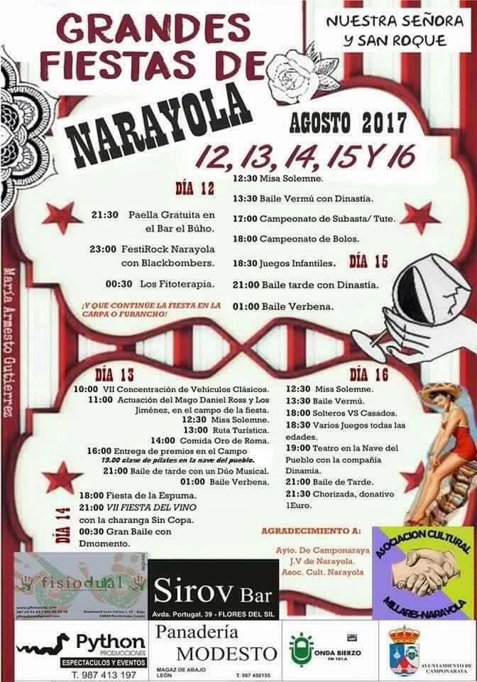 Fiestas de Narayola:12, 13, 14, 15 y 16 de agosto 2017 2