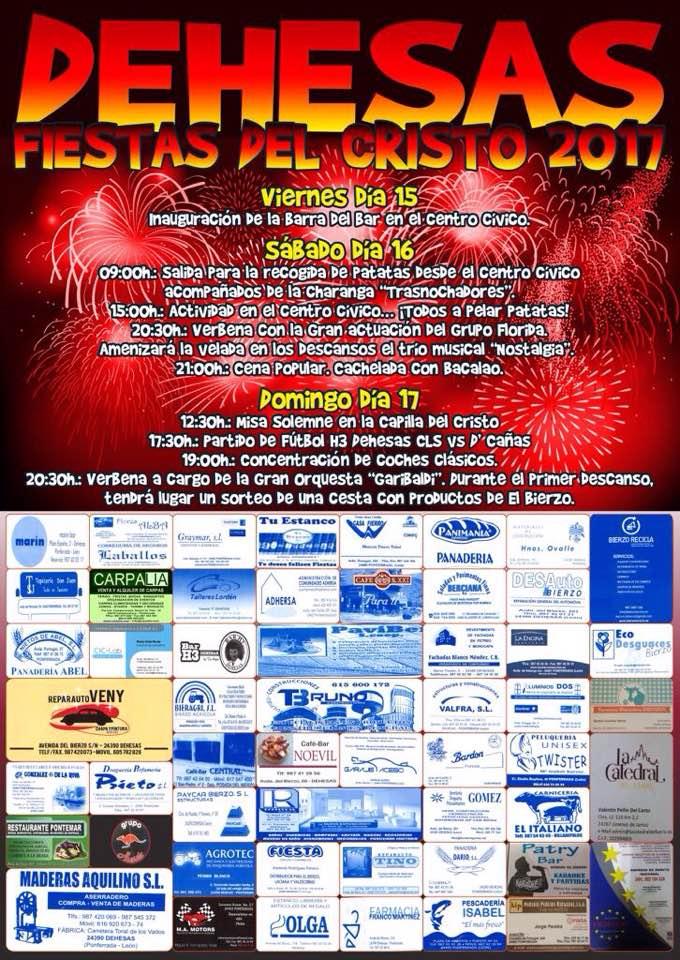 Fiestas del Cristo 2017 en Dehesas. 15 al 17 de septiembre