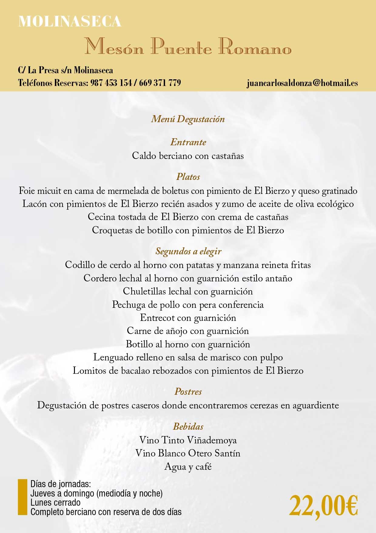 XXXIII Jornadas gastronómicas del Bierzo 2017. Restaurantes participantes 42