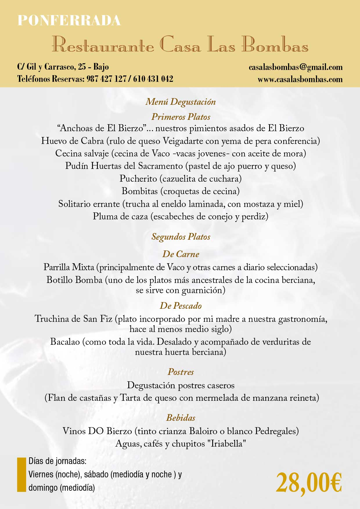 XXXIII Jornadas gastronómicas del Bierzo 2017. Restaurantes participantes 38