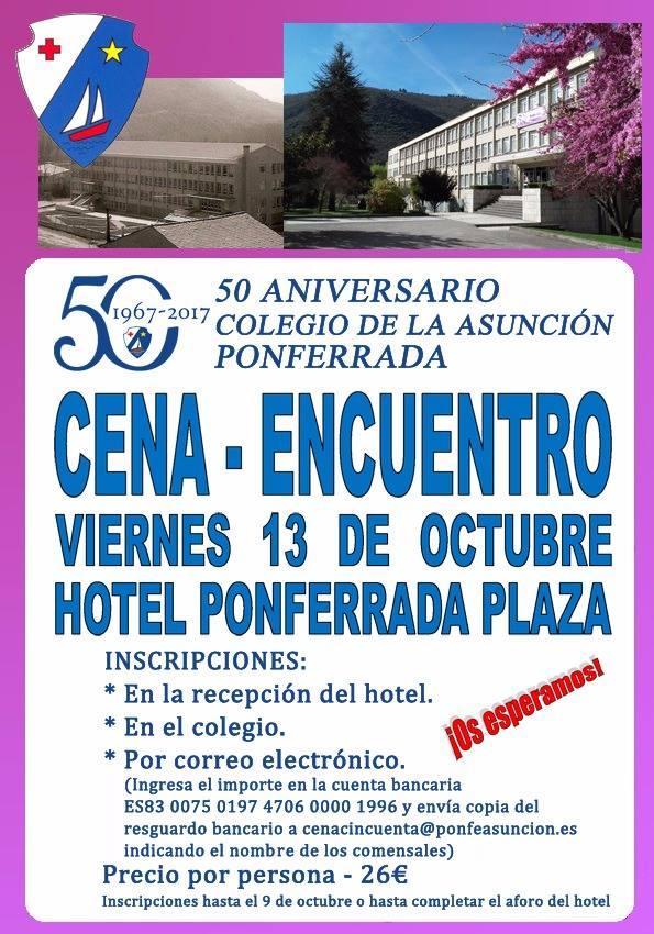 Cena encuentro 50 aniversario Colegio de la Asunción