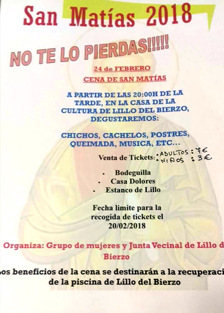 Cena de San Matías organizada por El Grupo de mujeres y Junta vecinal de Lillo del Bierzo.