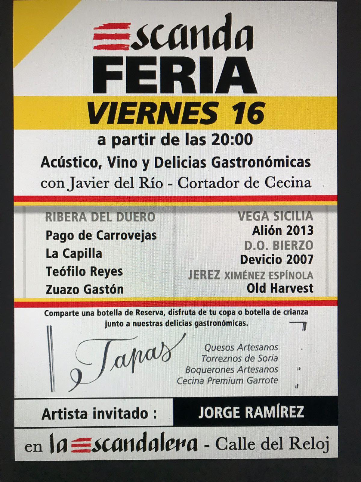 El viernes, nueva edición de la Escanda Feria, la oportunidad de disfrutar de vinos únicos con música en directo 2