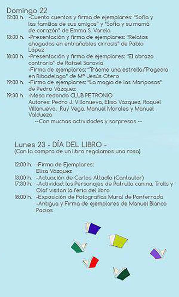 Programa Feria del libro de Ponferrada 2018 3
