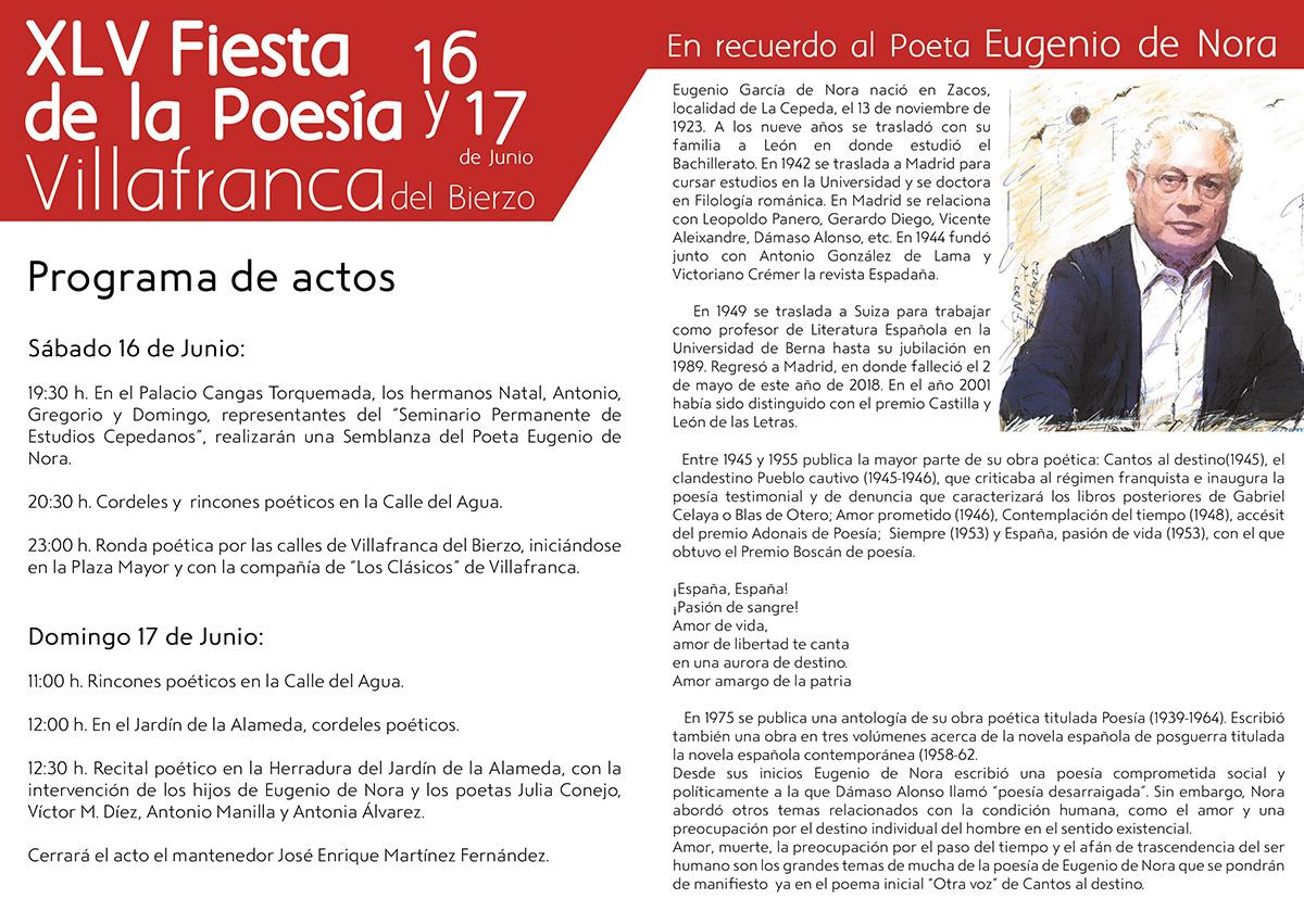 La fiesta de la poesía de Villafranca del Bierzo estará dedicada al recuerdo de Eugenio de la Nora 2