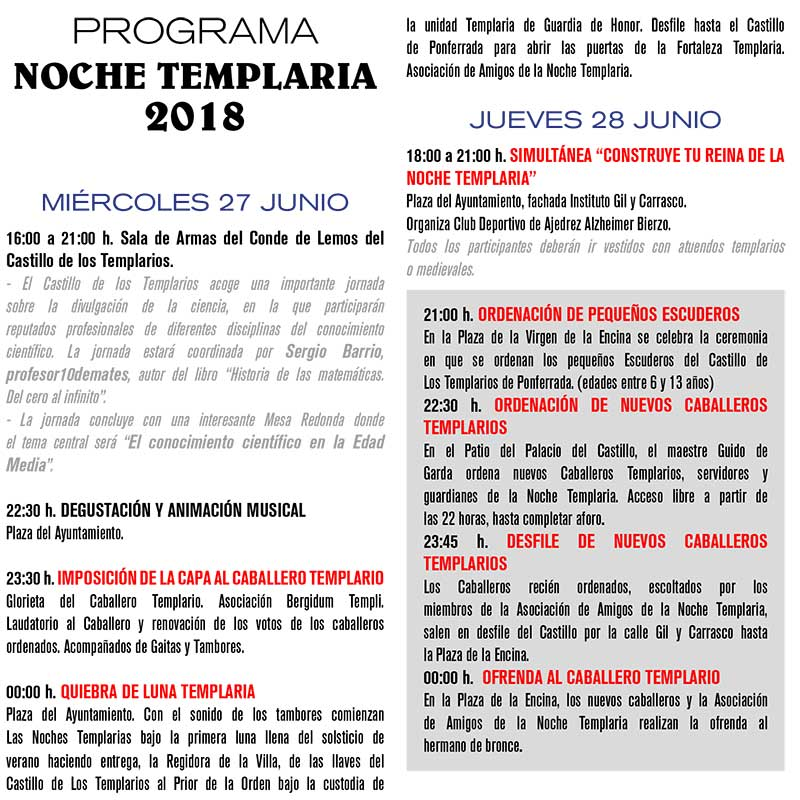 Progamación de la Noche Templaria 2018 6