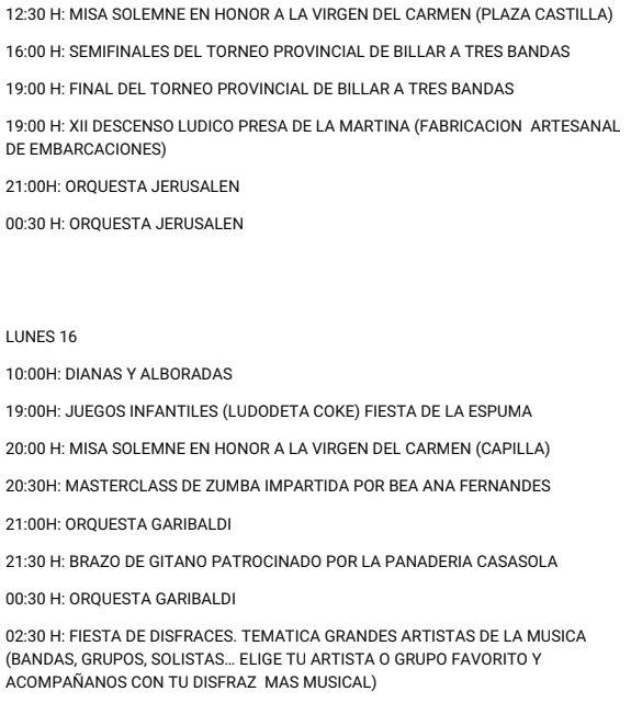 Fiestas del Carmen 2018 en el Barrio de La Placa. Programa completo 4