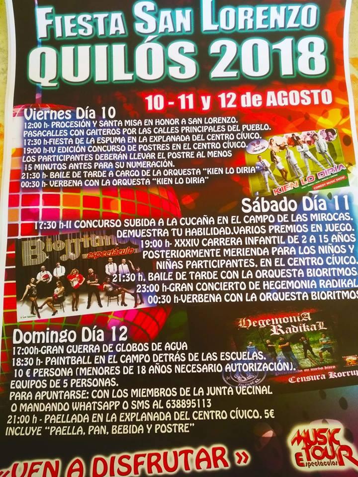 fiestas de San Lorenzo en Quilós. 10, 11 y 12 de agosto 2
