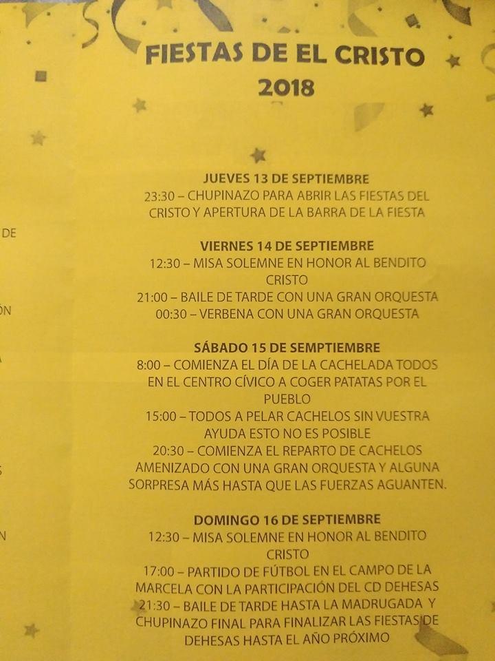 Fiestas del Cristo 2018 en Dehesas del 13 al 16 de septiembre 2