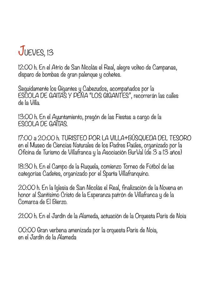 Programa de fiestas del Cristo de la Esperanza 2018 en Villafranca del Bierzo 3