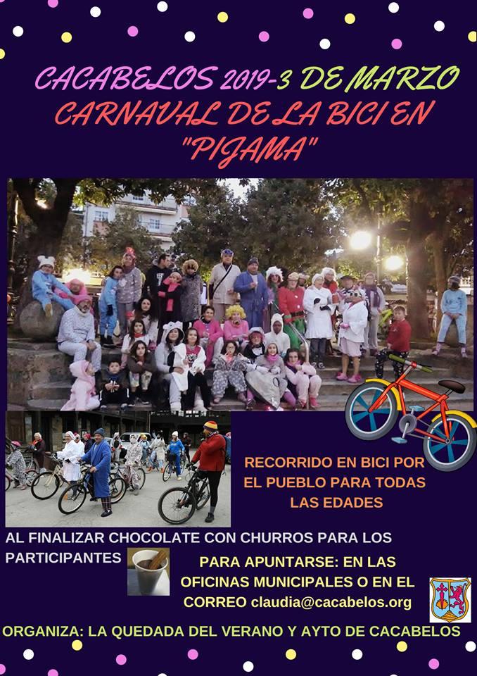 Carnaval 2019 en Cacabelos, el 'carnaval de la bici en pijama', actividad destacada 2