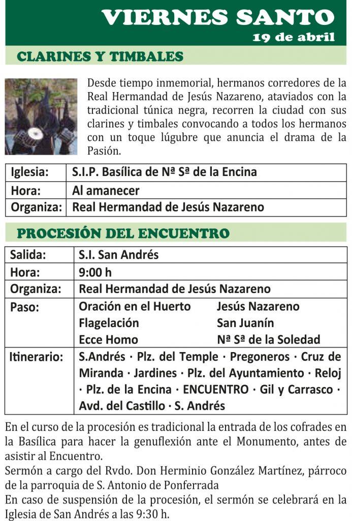 Semana Santa Ponferrada 2019. Programa y procesiones 18