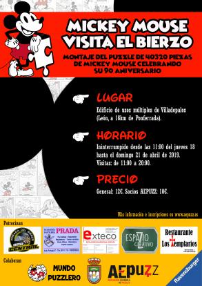Exposición de puzzles: MICKEY MOUSE VISITA EL BIERZO (18-21 ABRIL 2019)