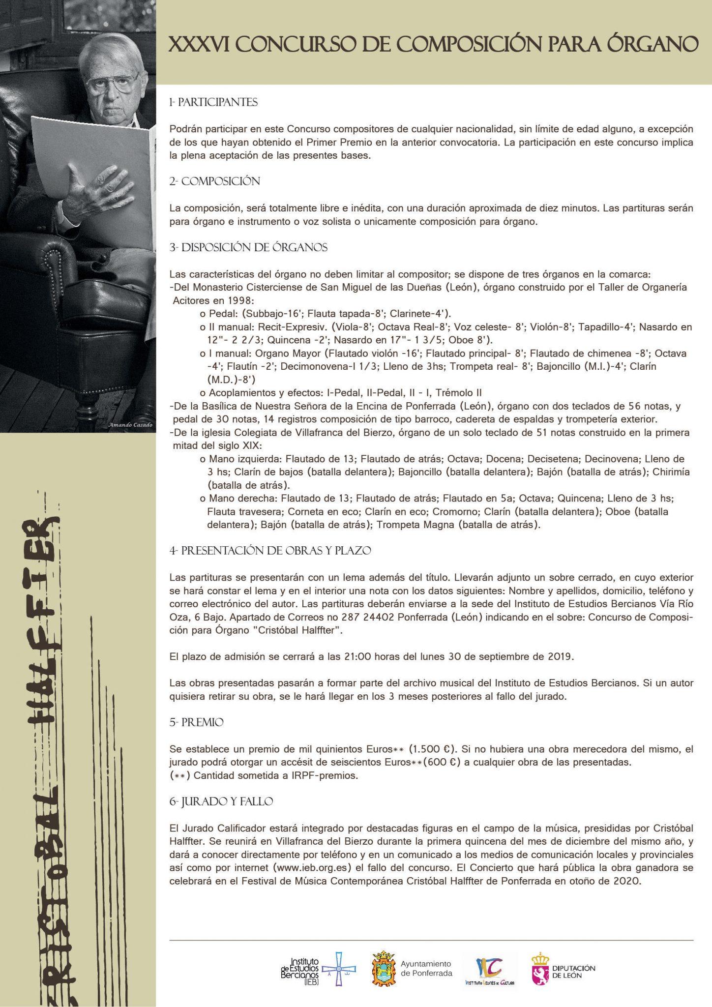 El IEB convoca el XXXVI Concurso de Composición para Órgano Cristóbal Halffter 2