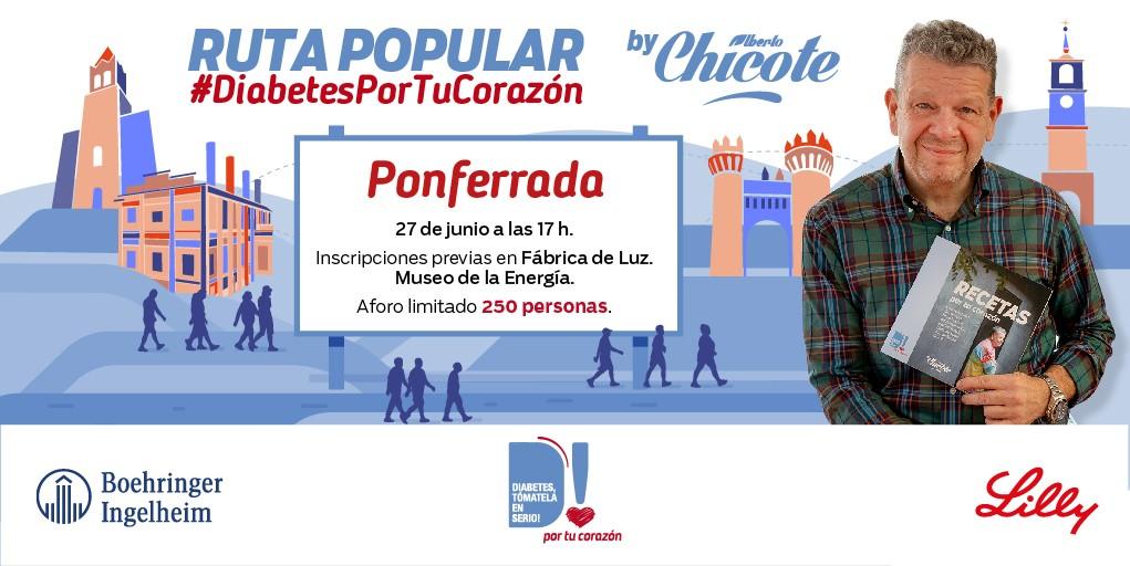 La Ruta Popular #DiabetesPorTuCorazón en la que participa Alberto Chicote se celebrará el próximo 27 de junio en Ponferrada 3