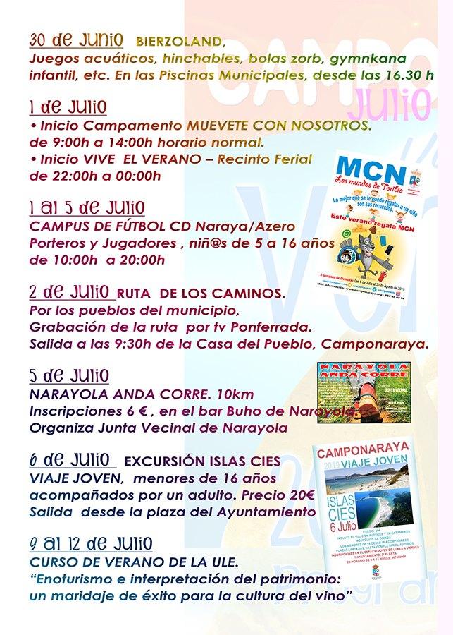 Camponaraya presenta las actividades encuadradas en el programa cultural 'Viva el Verano' 2