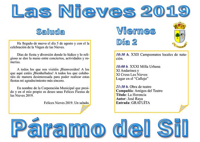 Fiestas de Las Nieves en Páramo del Sil. 2, 3, 4, 5 y 6 de agosto. Programación de actividades 2