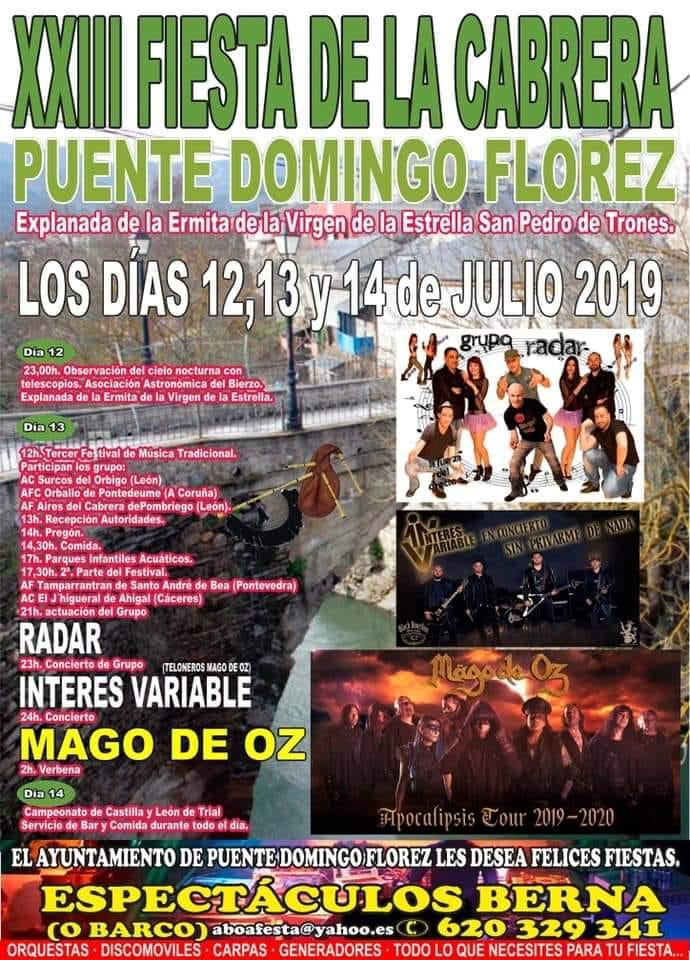La XXIII Fiesta de la Cabrera se celebra en Puente de Domingo Flórez y llega con el directo de Mago de Oz. 12 al 14 de julio 2