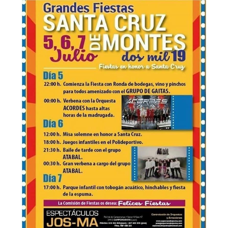 Fiestas en Santa Cruz de Montes 2019. 5, 6 y 7 de julio en honor a la Santa Cruz 2
