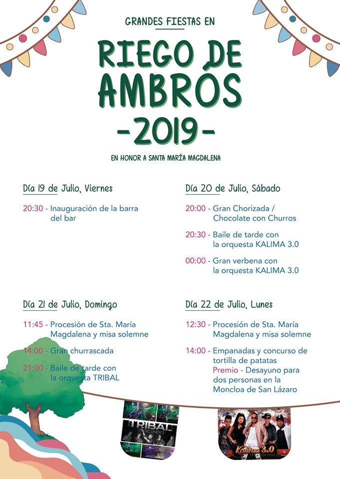 Fiestas en Riego de Ambrós. 19 al 22 de julio 2019 2