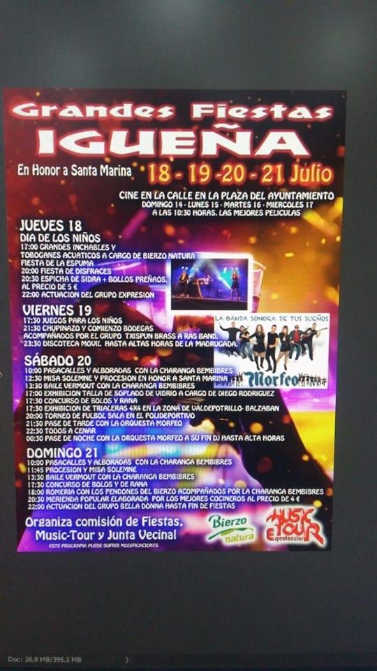 Grandes fiestas de Santa Marina en Igüeña. 18, 19, 20 y 21 de julio 2