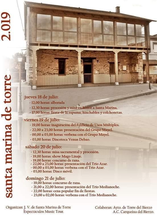 Fiestas en Santa Marina de Torre. 18 al 21 de julio 2
