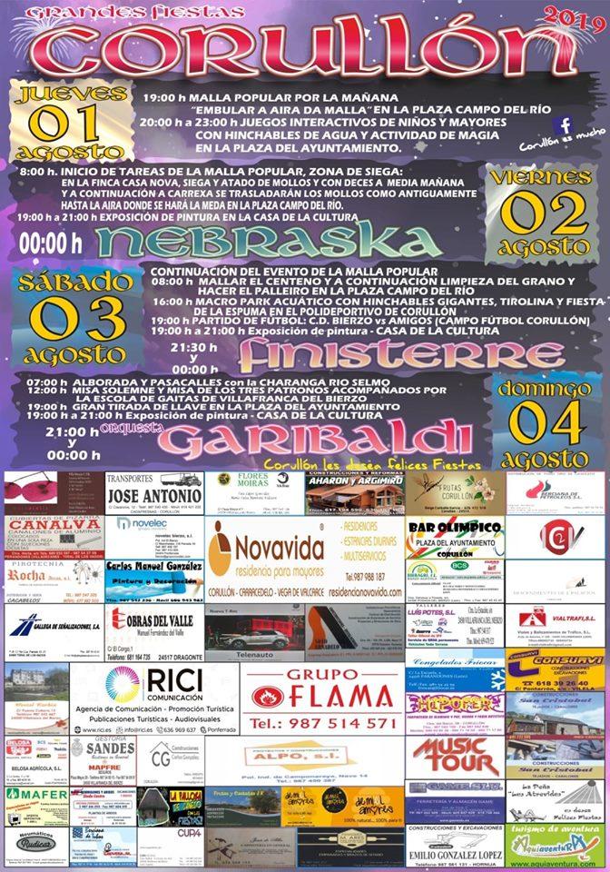 Grandes Fiestas en Corullón. 1 al 4 de agosto 2019 2