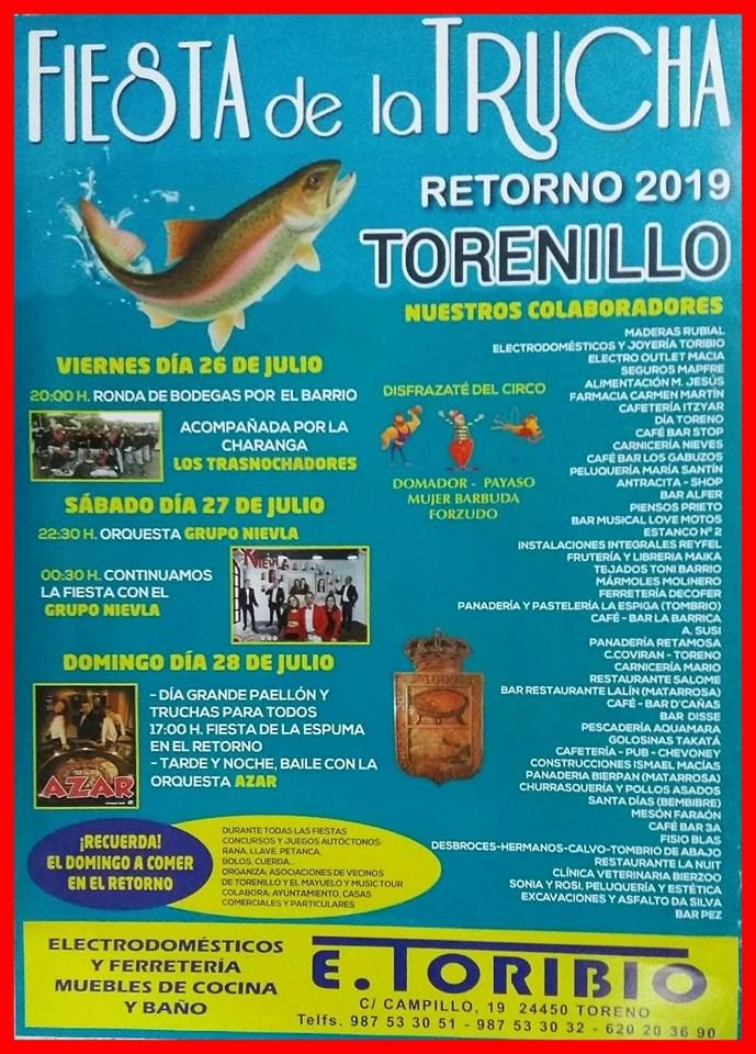 Fiestas de la trucha en Torenillo. 26 al 28 de julio 2