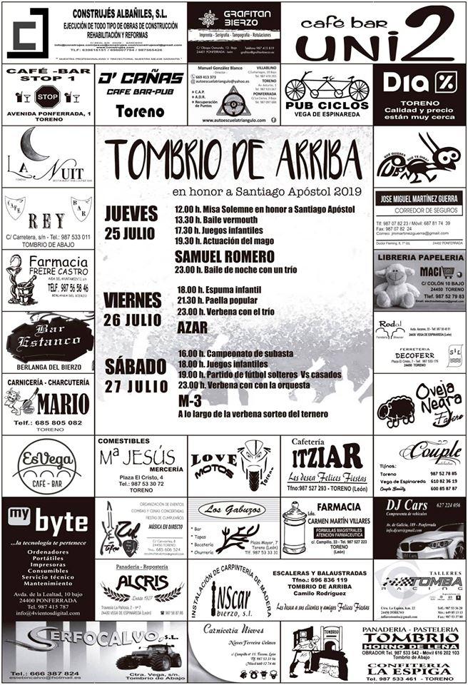 Fiestas en Tombrio de Arriba. 25 al 27 de julio 2
