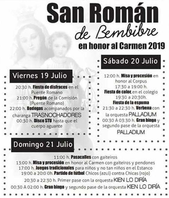 Fiestas del Carmen en San Román de Bembibre. 19 al 21 de julio 2