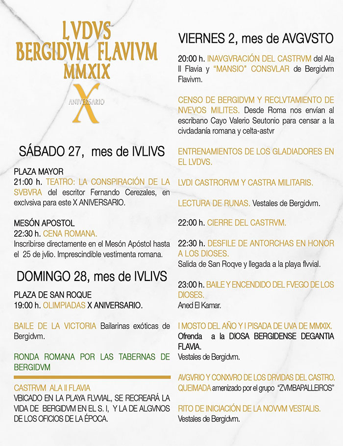 Llega el X aniversario de la Ludus Bergidum Flavium 2019 - Programa de actividades 3