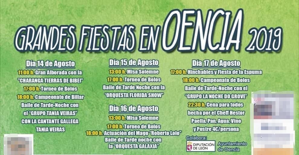 Fiestas en Oencia. 14 al 17 de agosto 2019 2