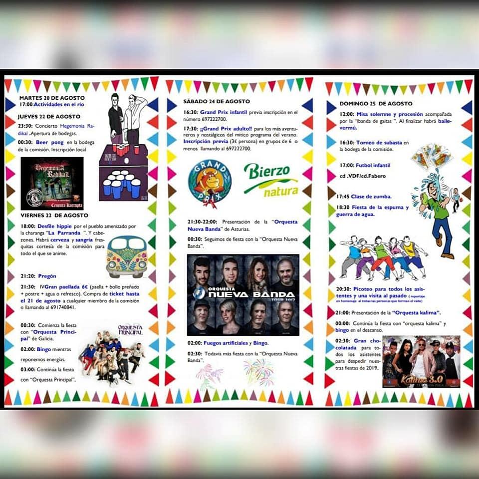 Grandes Fiestas en el Valle de Finolledo. 20 al 25 de agosto 2