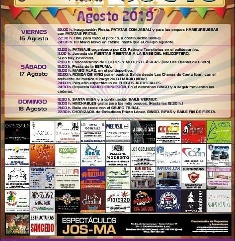 Grandes Fiestas en Cueto. 16 al 18 de agosto 2019 2