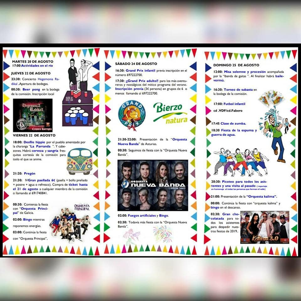 Grandes Fiestas en el Valle de Finolledo. 22 al 25 de agosto 2019 2