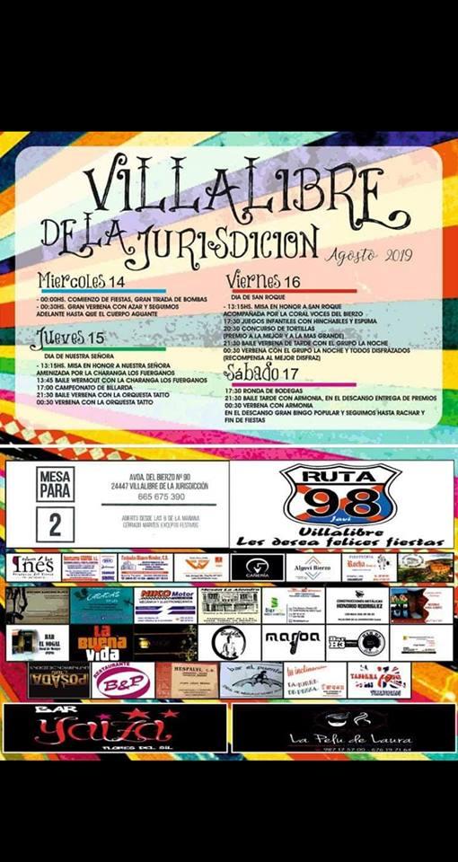 Fiestas en Villalibre de la Jurisdicción. 14 al 17 de agosto 2019 2