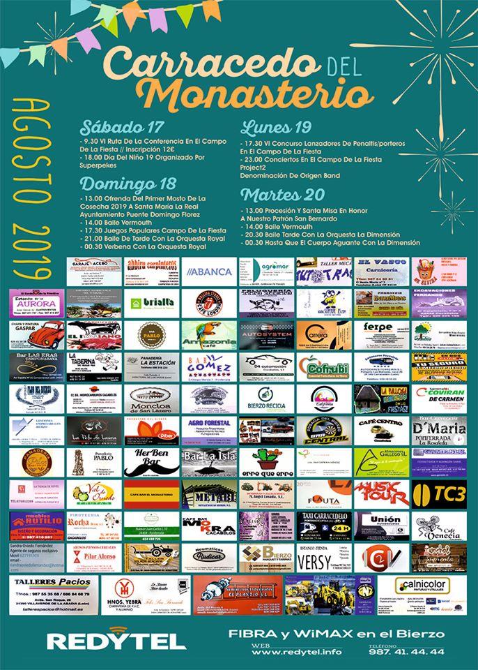 Grandes Fiestas en Carracedo del Monasterio. 17 al 20 de agosto 2019 2